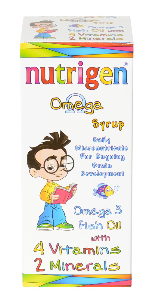 Nutrigen Omega syrup 200 ml for children containing high quality fish oil, vitamins and minerals